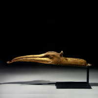 A Gilded Wooden Ibis Head