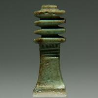 A Green Glazed Amulet in the Shape of a Djed Pillar