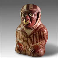 A Vessel in the Form of a Seated Man with a Gold Nose Ring