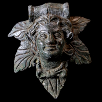 A Bronze Applique with Satyr Bust
